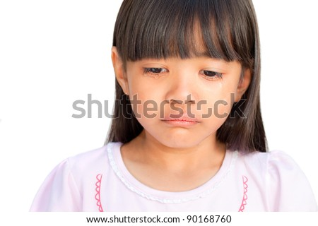 Little girl crying with tears rolling down her cheeks, isolated on white