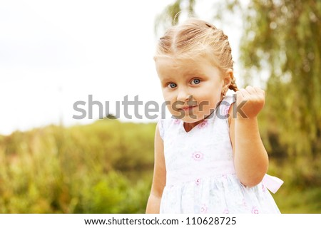Little girl don't know outdoor