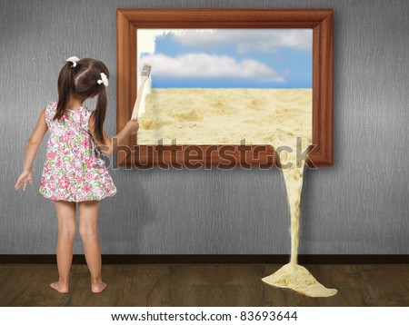 Little girl drawing picture, creative concept