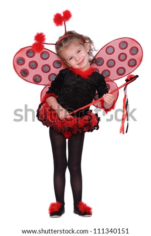 Little girl dressed as a ladybug - stock photo