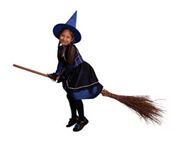little girl dressed as a witch wearing a hat and sitting on a broom, with a white background