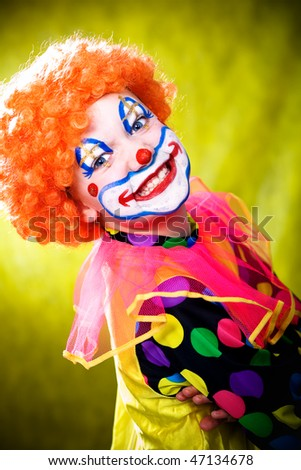 little girl dressed up as a clown