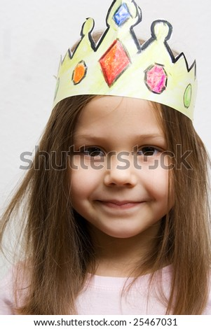 little girl dressed up like a princess - stock photo