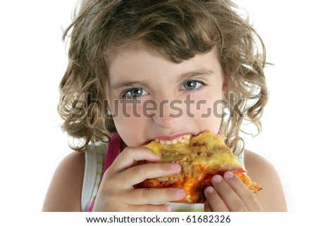 little girl eating hungry pizza closeup portrait face detail - stock photo