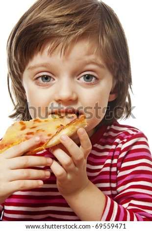 little girl eating pizza isolated