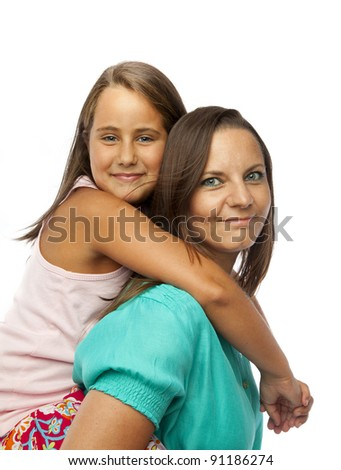 Little girl embracing her mother