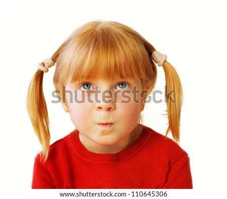 little girl, emotional portrait on white background