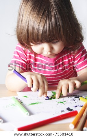 Little Girl Enthusiastic Drawing Portrait Focus on Hands