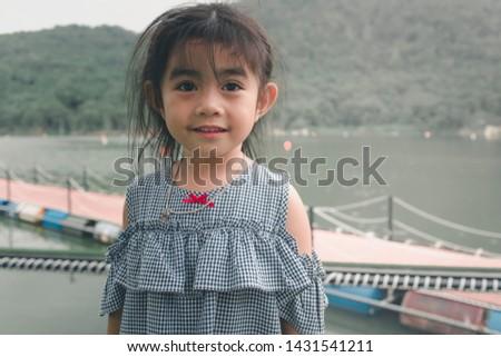 little girl fashion girl posing Outdoor
