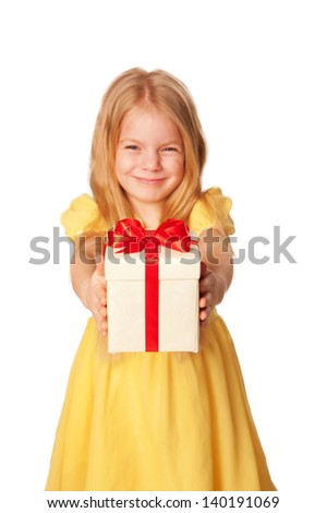 Little girl giving a gift. Selective focus on box with gift. Holiday concept. Ready for your text or symbol. Isolated on white background