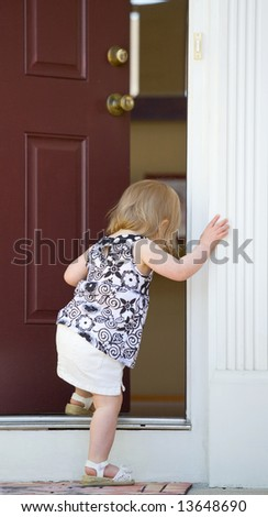 Little Girl Going into Home