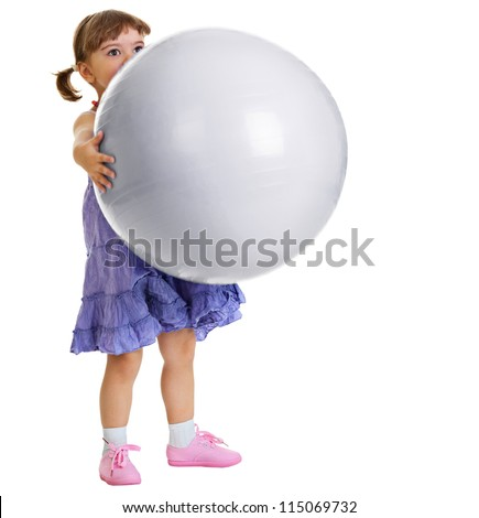 Little girl has a huge ball on white background
