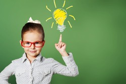Little girl has and idea, education concept