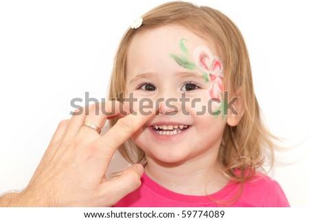 Little girl having fun isolated on white