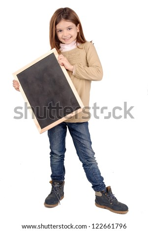 little girl holding a black board
