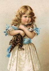 Little girl holding a cat - a vintage (c.1890) illustration.