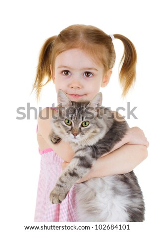 Little girl holding a cat  on white background