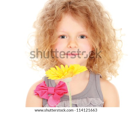 Little girl holding a flower, isolated on white background