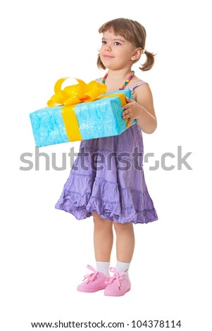 Little girl holding a gift - birthday isolated on white background