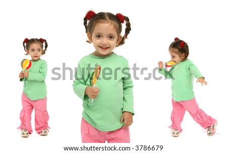 Little girl holding a lollipop with different expressions and emotions.