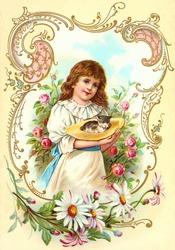 Little girl holding a shy kitten in her bonnet - a vintage (c.1890) illustration.