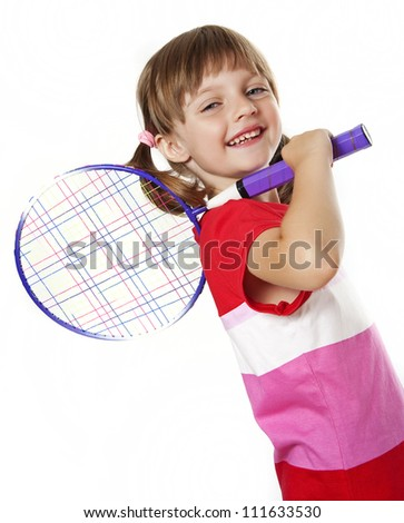 little girl holding a tennis racket - white background