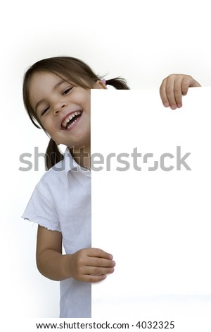 little girl holding a white banner isolated on white - stock photo