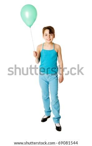 Little Girl Holding Balloon isolated on white