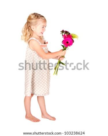 little girl holding flowers isolated on white