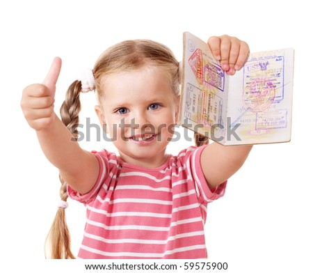 Little girl holding international passport and show thumb up.