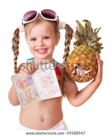 Little girl  holding international passport. Foreign vacation.