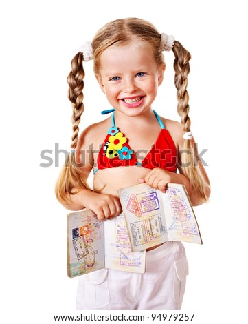 Little girl holding international passport. Isolated.