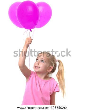 little girl holding three pink balloons
