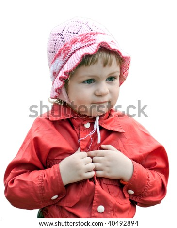 little girl in a red jacket and a pink hat isolated on white