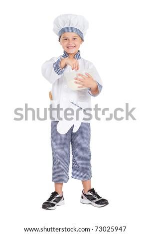 little girl in baker's uniform mixing flour, isolated on white - stock photo