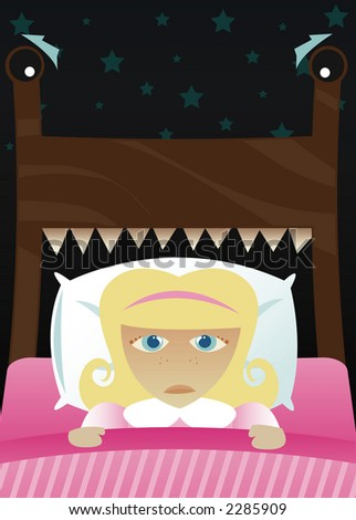 Little girl in bed, scared of the dark and imagining her bed's become a monster