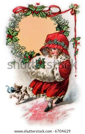 Little Girl in Christmas Bonnet & Muffler - a 1916 vintage illustration
