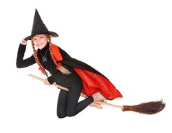 Little girl in costume Halloween witch in black dress and hat fly on broom.Isolated.