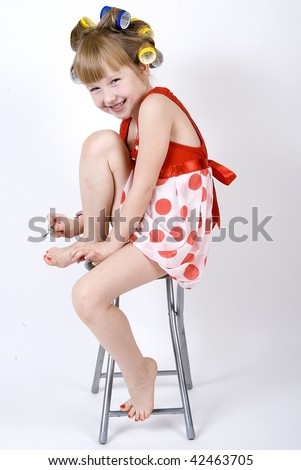 little girl in curler 4