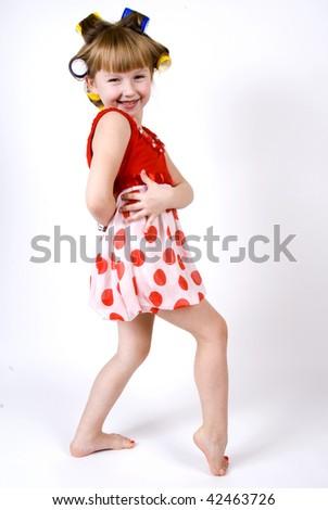 little girl in curler B - stock photo