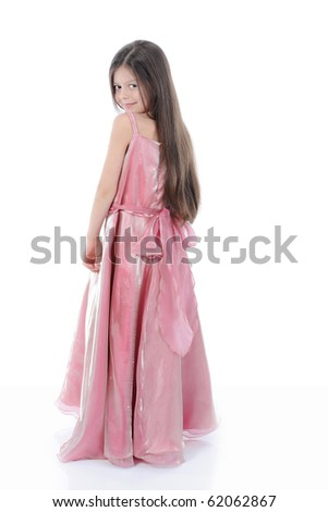 little girl in evening dress. Isolated on white