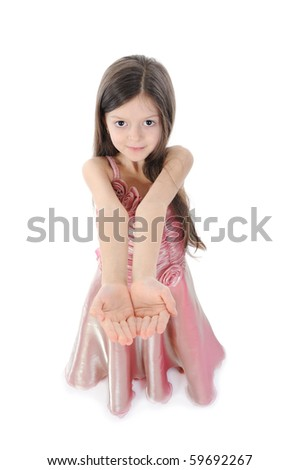 little girl in evening dress. Isolated on white background