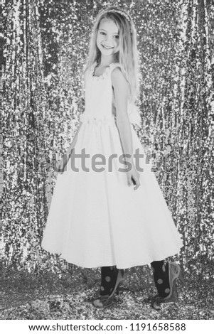 Little girl in fashionable dress, prom. little girl in glamour style #1191658588