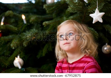 little girl in front of christmas