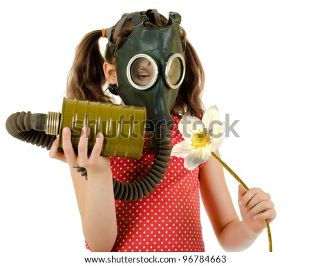 little girl  in gas mask, smell big white flower, on white background, isolated