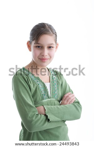 little girl in green clothes, isolated