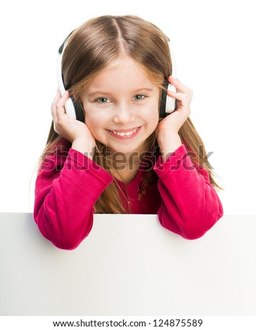 little girl in headphones with white banner