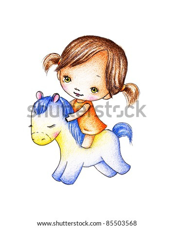 Little girl in orange dress on a blue toy horse