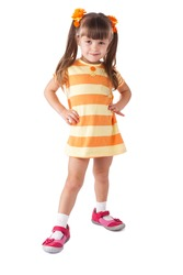 little girl in red shoes. Isolated on white background.