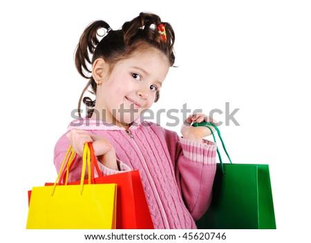 Little girl in shopping - stock photo